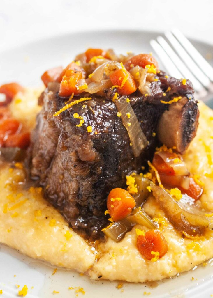Slow Cooker Bourbon Short Ribs with Cheesy Grits