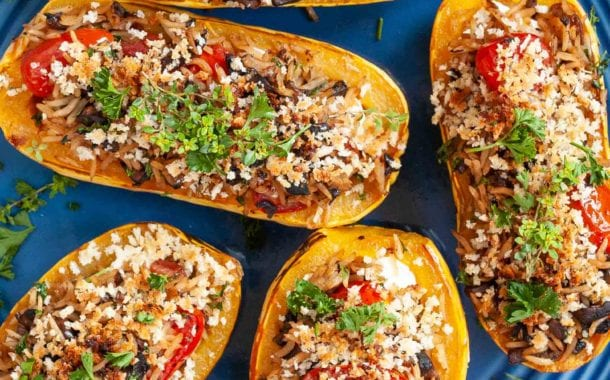 Stuffed Delicata Squash with Pancetta and Goat Cheese