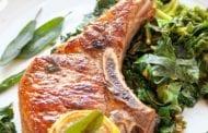 Pan-Seared Pork Chops with Garlic and Greens