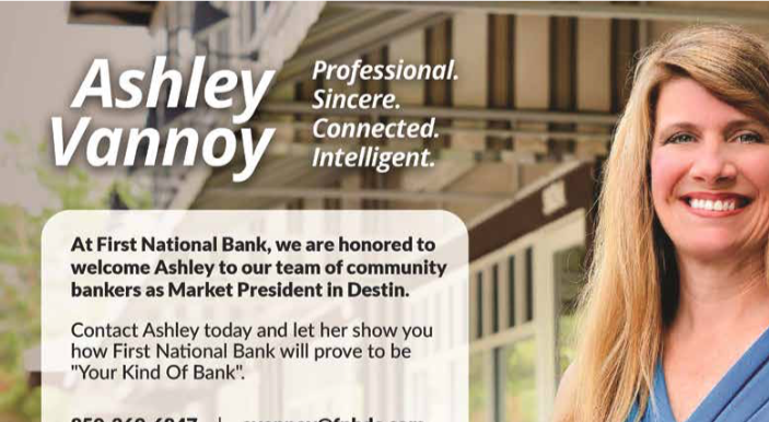 FIRST NATIONAL BANK ANNOUNCES ASHLEY VANNOY AS MARKET PRESIDENT
