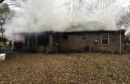 FIREFIGHTERS KNOCK DOWN FLAMES AT A HOME IN LIBERTY VOLUNTEER FIRE DISTRICT