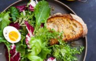 Mixed Green Salad with Honey Mustard, Eggs, and Toast