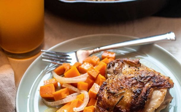 Apple Cider Chicken Thighs with Sweet Potatoes