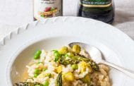 Risotto with Balsamic-Roasted Asparagus and Peas