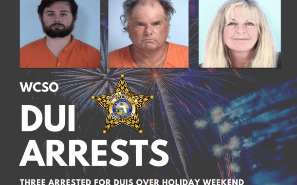 WCSO ARRESTS THREE FOR DUIS OVER HOLIDAY WEEKEND