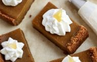 Pumpkin Pie Bars with Candied Ginger Whipped Cream
