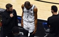 KD hurts thigh, exits in first quarter of Nets' loss